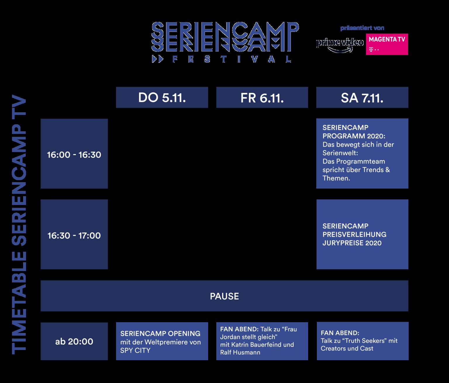 Seriencamp 2020: Timetable Seriencamp TV